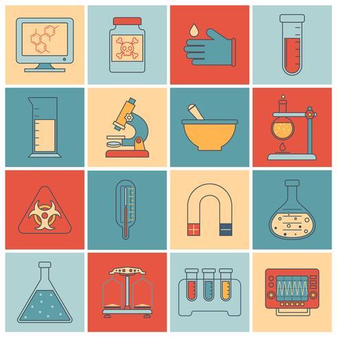 Laboratorieutrustning ikoner platt linje vektor