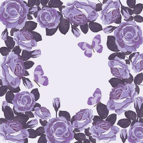 Floral card template with violet roses and butterflies. Beautiful frame.