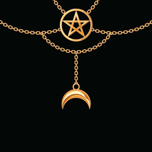 Background with golden metallic necklace. Pentagram pendant and chains. On black. Vector illustration