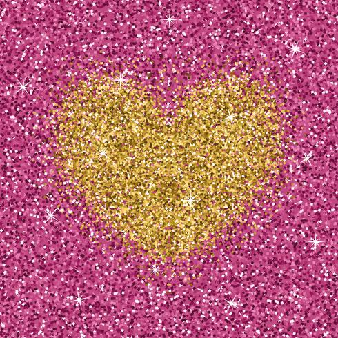 Yellow gold glitter heart on purple pink texture. Shimmer love background. vector
