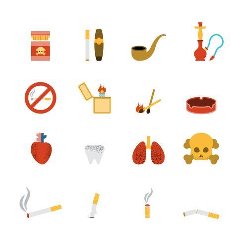Icono de fumar conjunto plana vector