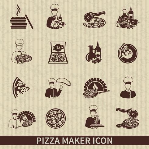 pizza maker ikon svart