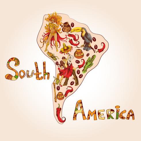 Sydamerika skiss koncept vektor