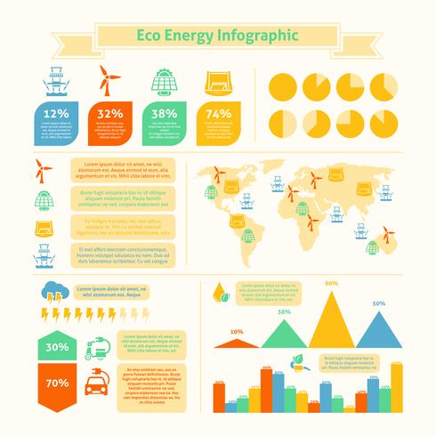 Impressão de infográfico de energia eco vetor
