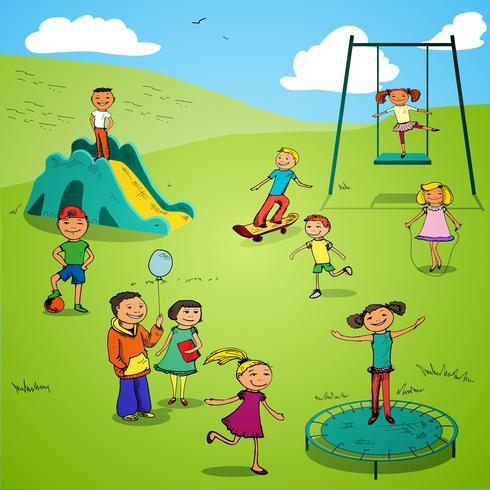 I personaggi dei bambini disegnano colorati