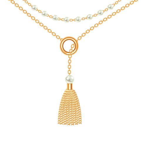 Fond avec collier en métal doré. Gland, perles et chaînes. Sur blanc Illustration vectorielle