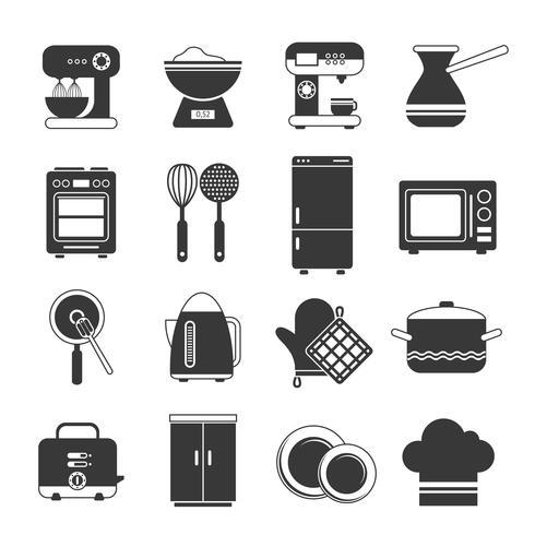 Set di icone in bianco e nero di cucina vettore
