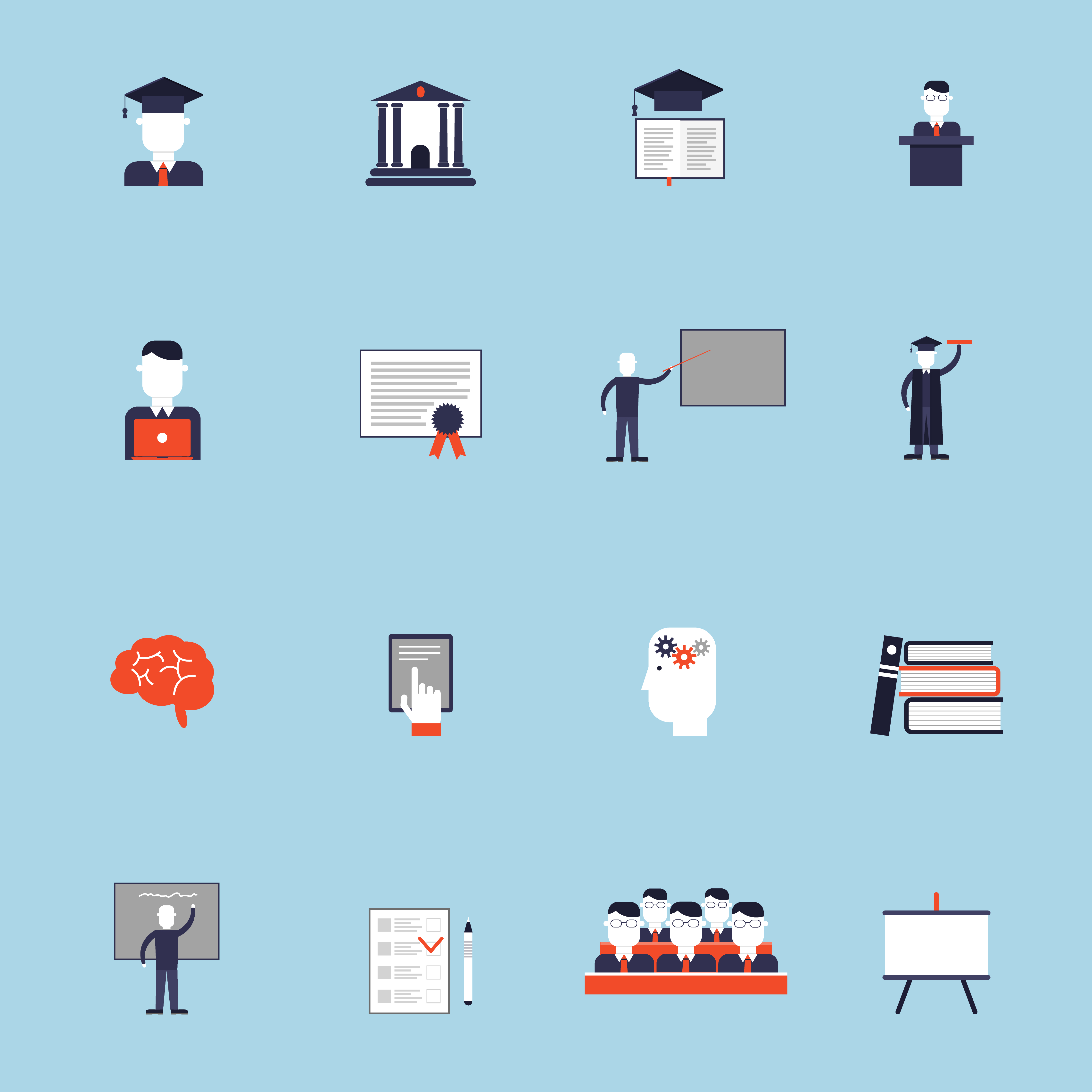 Higher Education Icon Flat - Download Free Vectors, Clipart Graphics & Vector Art