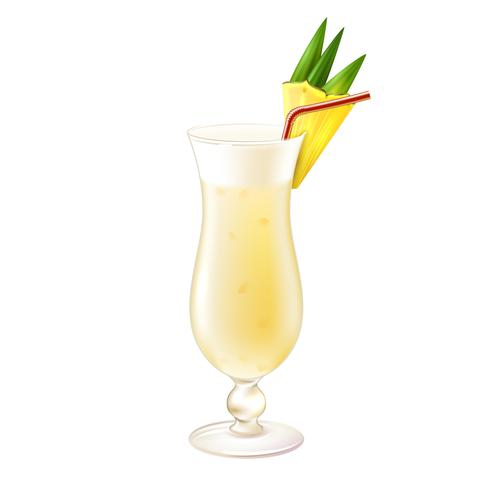 Pina colada cocktail realistic vector