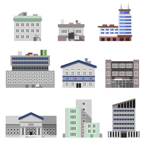 Kontorsbyggnader platt vektor