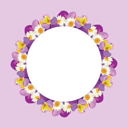 Marco de manzanilla y pensamientos sobre fondo rosa púrpura vector