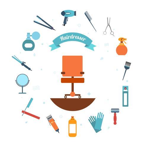 Hairdresser icon flat vector