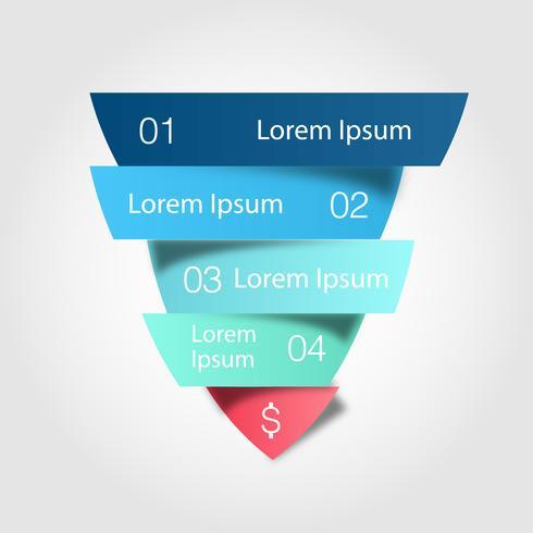 Canali di vendita. L'illustrazione del triangolo colorato è divisa in quattro parti con una piccola ombra.