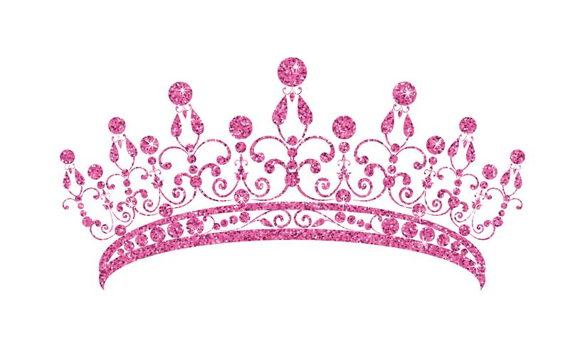 Diadema brillante. Tiara rosada aislada en el fondo blanco. vector