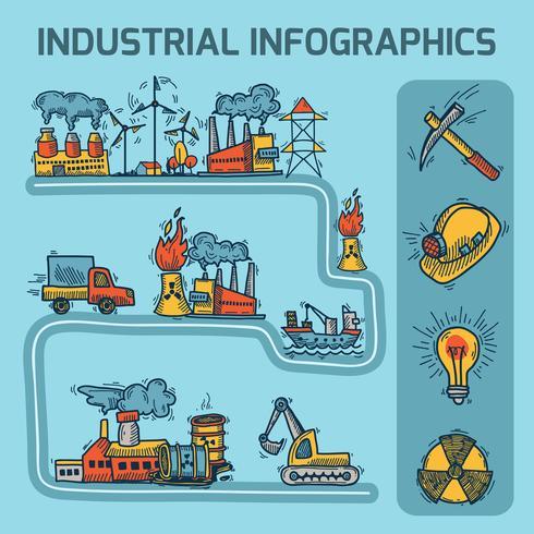 Industriële schets infographic set vector