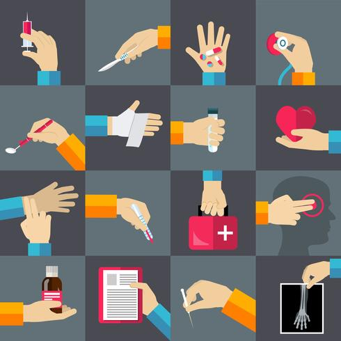 Medical hands flat icons set