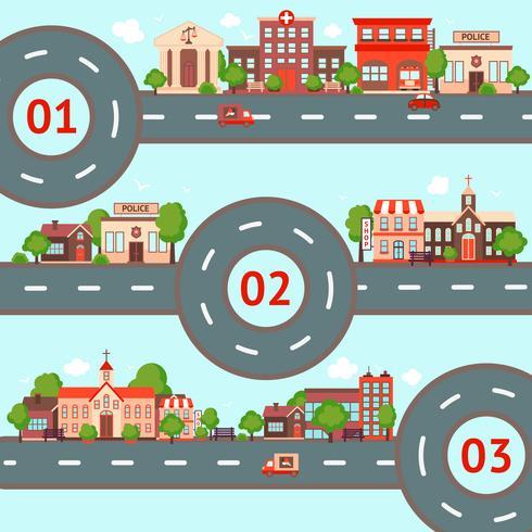 Conjunto de infográficos da cidade