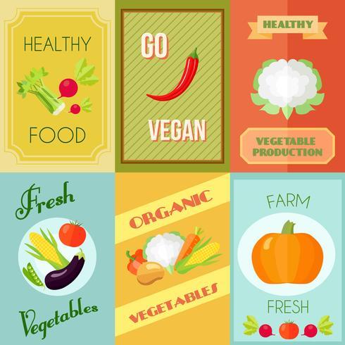 Ensemble de mini affiches d'aliments sains