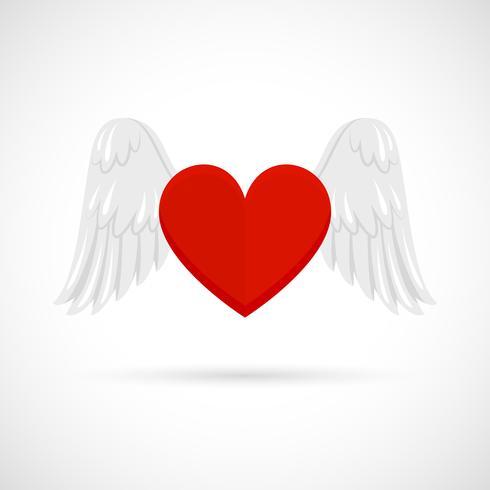 Coração com asas vetor