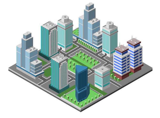 Wolkenkrabber stad Concept vector