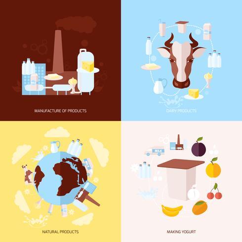 Iconos de la leche establecidos planos vector