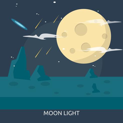 Diseño conceptual de la ilustración de la luz de luna