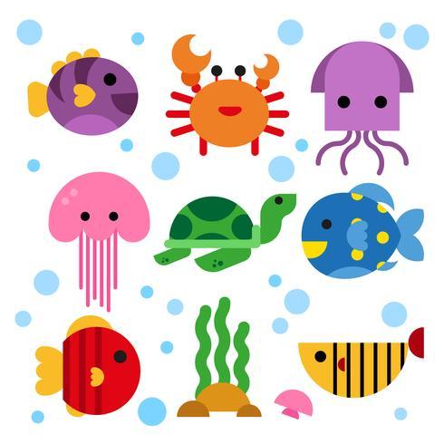ocean djur samling design