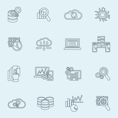 Esboço de ícones de análise de banco de dados