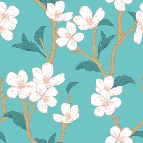 Árbol floreciente Patrón sin fisuras con las flores. Textura floral de primavera. Dibujado a mano ilustración vectorial botánica