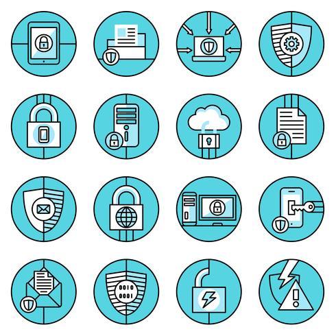 Dataskydd ikoner blå linje vektor