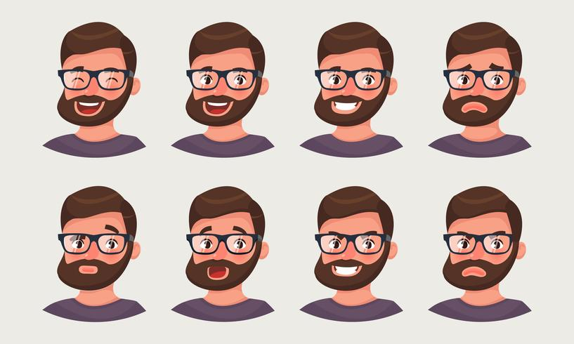 Cute hipster businessman showing different emotions. A bearded man office worker emoji. vector