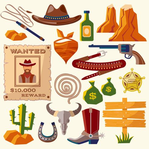 Cowboy pictogrammen plat