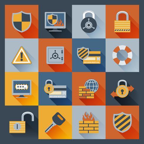 Security icons set flat