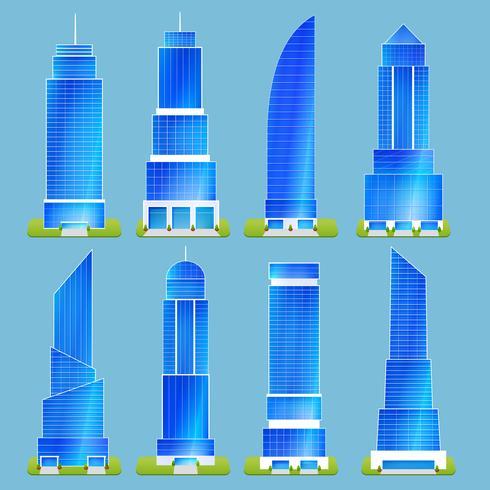 Conjunto de edificios de oficinas vector