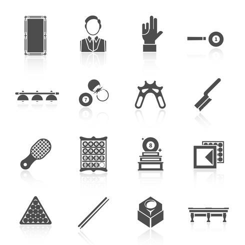 Conjunto de iconos de billar negro vector