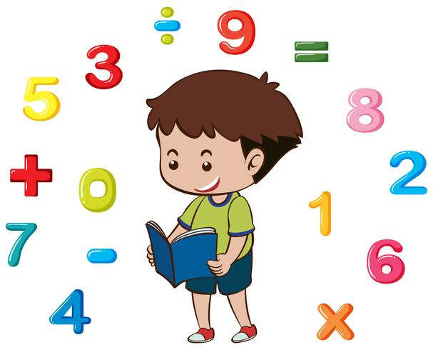 Boy reading book with numbers in background