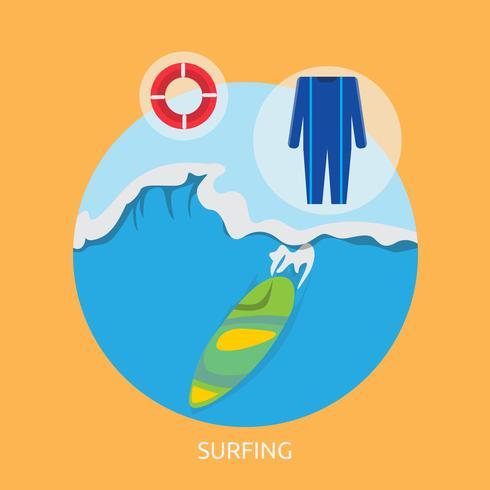 Surfing Conceptual ilustración Diseño vector