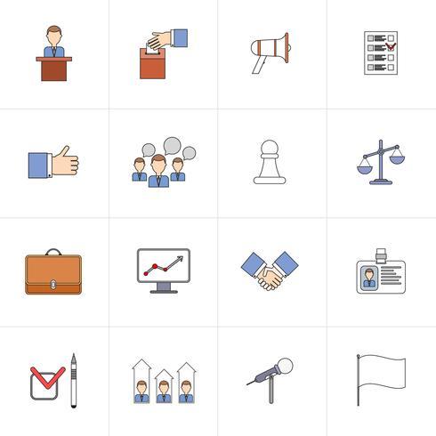 Conjunto de ícones de eleições linha plana