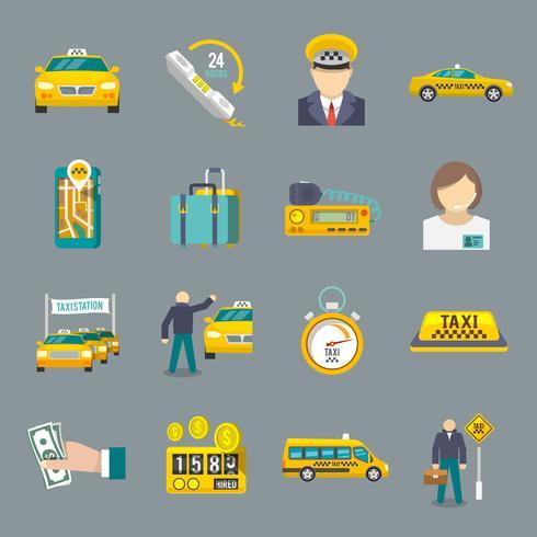 Taxi ikoner platt set vektor