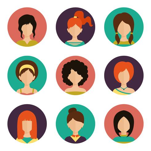 Conjunto de avatar de mulheres