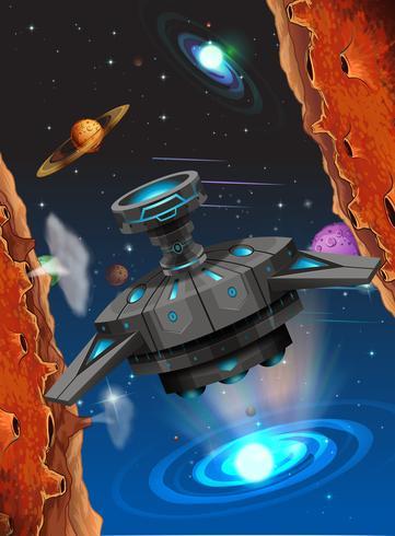 Vreemd schip in ruimtescène