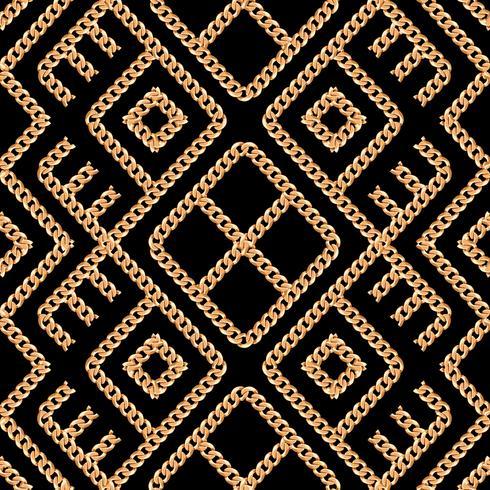 Modelo inconsútil del ornamento geométrico de cadena del oro en fondo negro. Ilustración vectorial vector