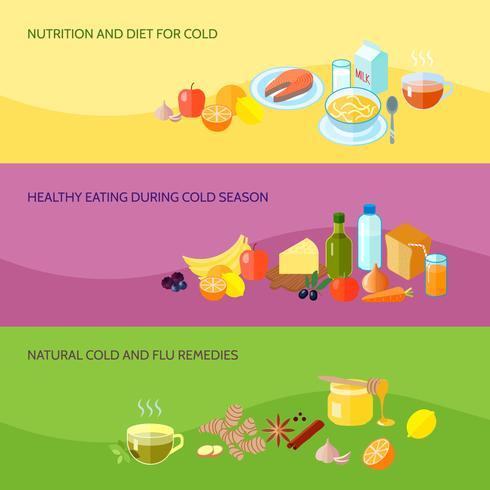 Conjunto de banners de comida saludable vector