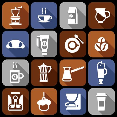 Coffee icons flat shadow set