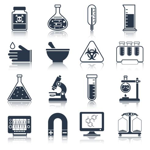 Laboratory equipment icons black