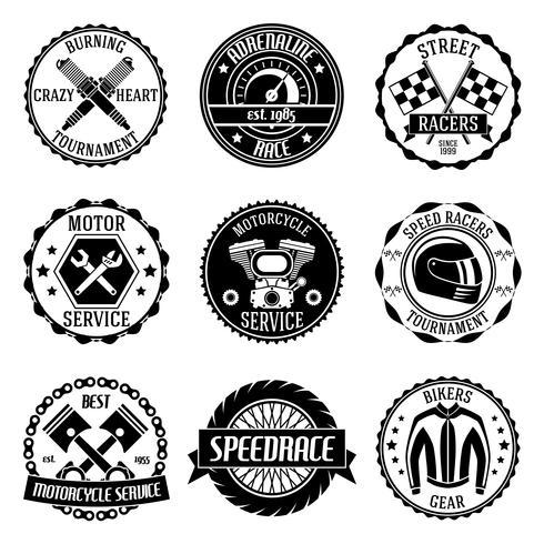 Emblemas de carreras de motos. vector