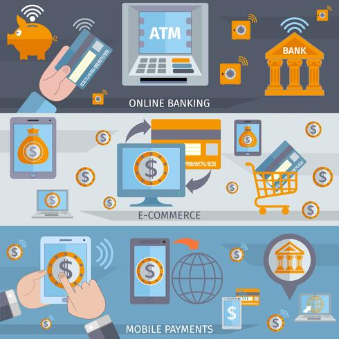 Banners de línea de banca móvil. vector