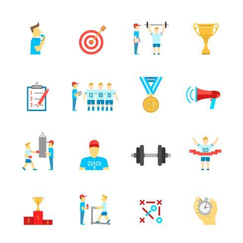 Coaching conjunto de iconos de deporte vector