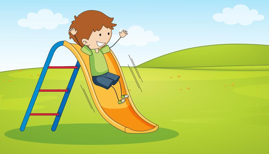 Doodle boy playing slide vector