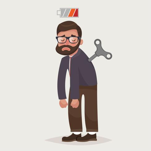 Tired businessman with Clockwork key and empty battery. Business concept